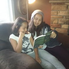 Brooke reading with Claire.